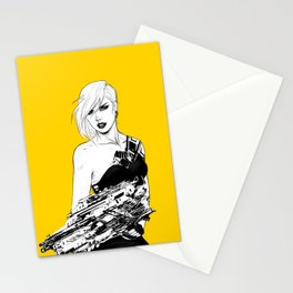 Badass girl with gun in comic pop art style Stationery Cards