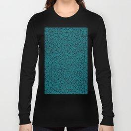 Teal Lumber Mosaic Pattern Long Sleeve T-shirt