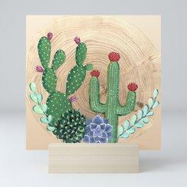 Rustic cacti, succulents and wood Mini Art Print