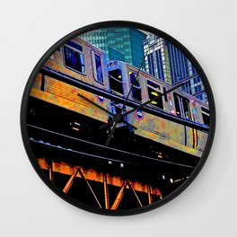 Chicago 'L' in multi color: Chicago photography - Chicago Elevated train Wall Clock