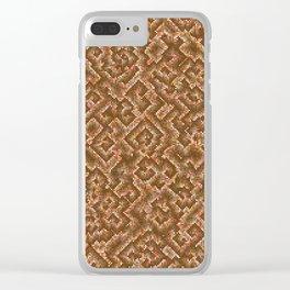 Algorithmic spirals in orange Clear iPhone Case
