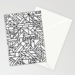 GEOMETRIC BLACK AND WHITE OUTLINES SHAPES MINIMAL MINIMALIST DIGITAL PATTERN Stationery Cards