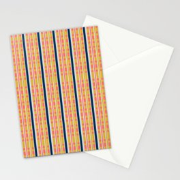 Cora Yellow and Blue Picnic Stripe Pattern Stationery Cards