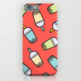 Bubble Tea Pattern in Red iPhone Case