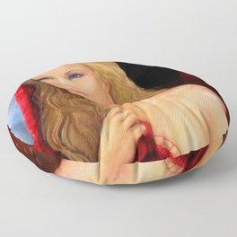 St. Julianne of Sunset Boulevard - Blond in Red portrait painting Floor Pillow