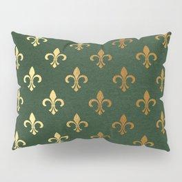 Green and Metallic Gold Fleur-de-lis Pillow Sham