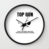 top gun Wall Clocks featuring Top Gun Movie Poster by FunnyFaceArt