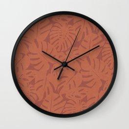 Monstera Leaves in Burnt Orange Wall Clock