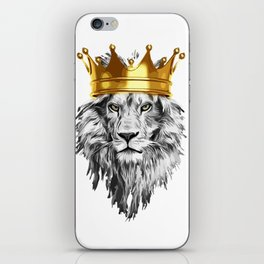 lion with a crown power king iPhone Skin