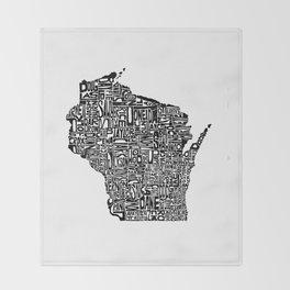 Typographic Wisconsin Throw Blanket