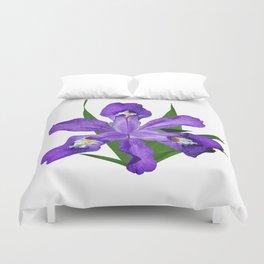 Dwarf crested Iris, Iris cristata on white Duvet Cover