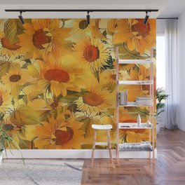 Sunshine Floral Abstract Wall Mural