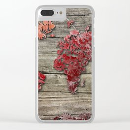 world map wood 3 Clear iPhone Case
