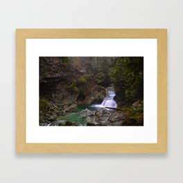 Crystal Clear Waterfall, British Columbia Framed Art Print