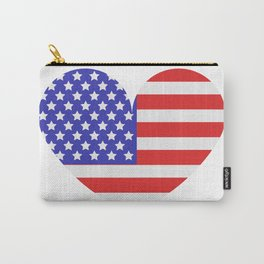 united states flag with heart Carry-All Pouch