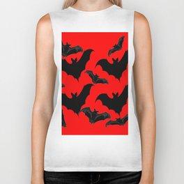 HALLOWEEN BATS ON BLOOD RED DESIGN Biker Tank