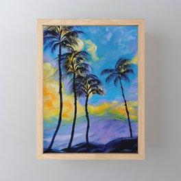 Moon over Palm Trees Framed Mini Art Print