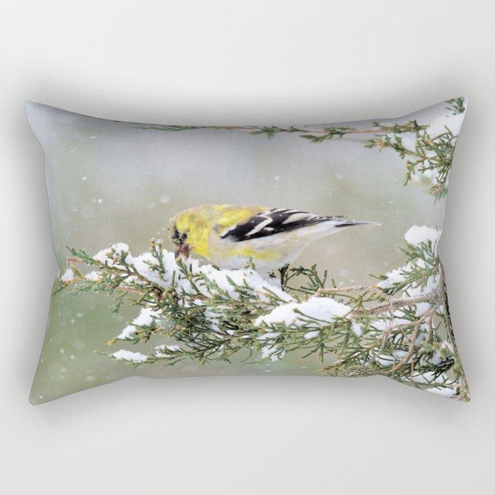 Spring Blizzard (American Goldfinch) Rectangular Pillow