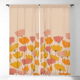 Summertime Flowers On Beige Blackout Curtain