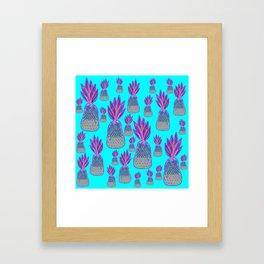 Aqua Pineapple Parade - Neon Pink and Green Pineapples Framed Art Print