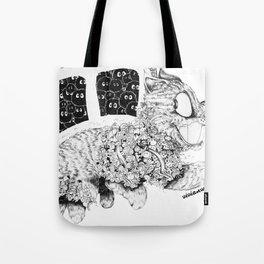 Studio Ghibli Cat Bus Black & White Zentangle Drawing Doodle Tote Bag