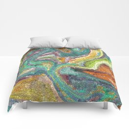 Turquoise, Copper, Gold, Green, Mosaic Design Comforters
