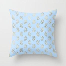 Elegant Gold Mermaid Pattern Throw Pillow