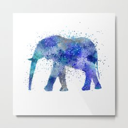 Blue Watercolor Elephant Metal Print