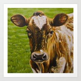 Ayrshire Cow Portrait Art Print