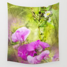 Wild Sweet Peas Wall Tapestry