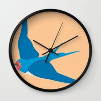 swallow Wall Clocks featuring Swallow by Graeme Luey