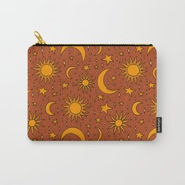 Vintage Sun and Star Print in Rust Carry-All Pouch