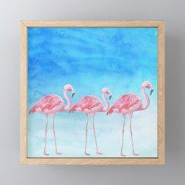 Flamingo Bird Summer Lagune - Watercolor Illustration Framed Mini Art Print