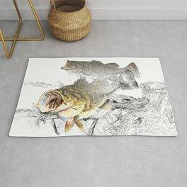 Largemouth Black Bass Fishing Art Rug