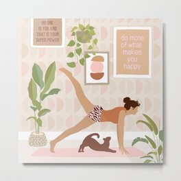 Yoga Girl Power with cat & plants Metal Print