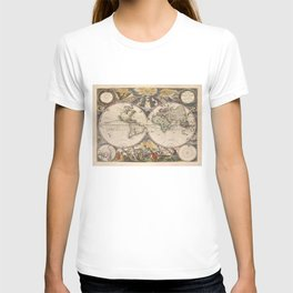 Vintage Map of The World (1672) 2 T-shirt