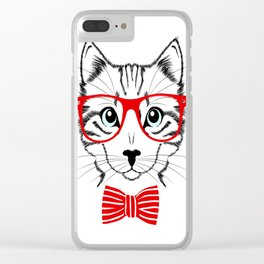 Hipster Cat with Red Glasses Clear iPhone Case