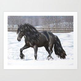 Friesian Horse Trotting In Snow Art Print