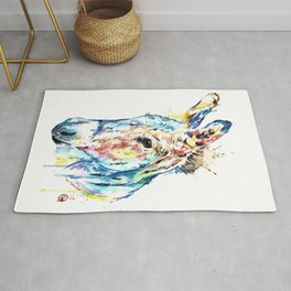 Donkey Colorful Watercolor Painting by Lisa Whitehouse Rug