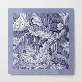 Acanthus Nouveau Style in Blue Metal Print