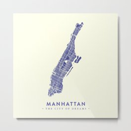 Manhattan Map NYC Metal Print