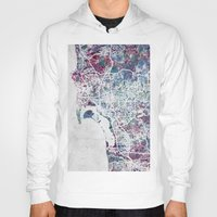 san diego Hoodies featuring San Diego map by MapMapMaps.Watercolors