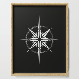 Compass Rose Illustration | White on Black Serving Tray