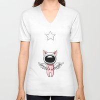 piglet V-neck T-shirts featuring Piglet in Space by Freeminds