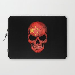 Dark Skull with Flag of China Laptop Sleeve