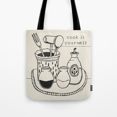 Cook it Yourself Folk Art on Canvas Tote Bag