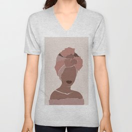 Abstract african woman portrait in minimalistic style.  Unisex V-Neck
