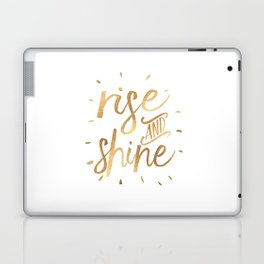 RISE AND SHINE Sign, Bedroom Decor,Home Decor,Living Room Decor,Motivational Quote,Rise And Grind,Qu Laptop & iPad Skin