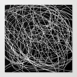 Black line doodle single line Canvas Print