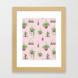 Mother, Macramé I? - Hanging Plants on Pink Framed Art Print